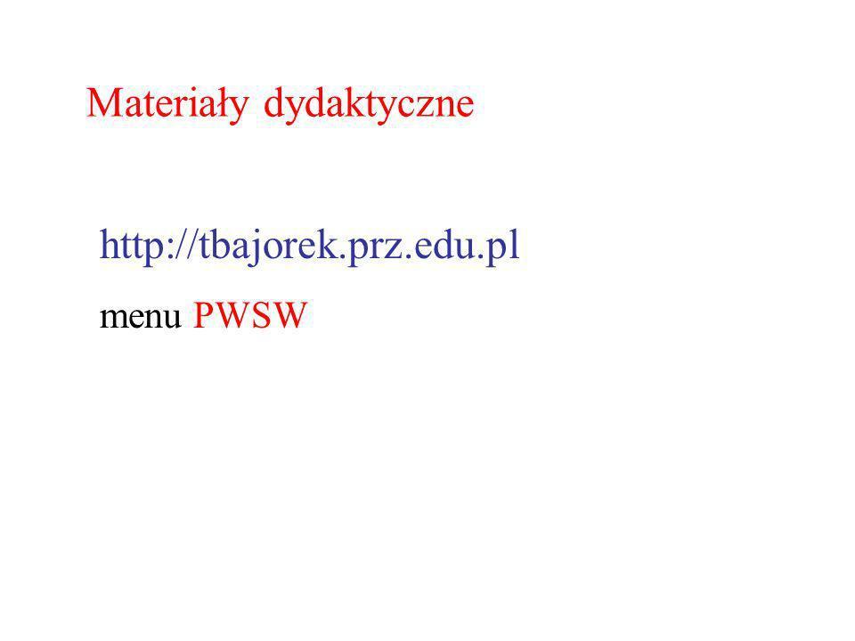 http://tbajorek.prz.edu.pl menu PWSW Materiały dydaktyczne