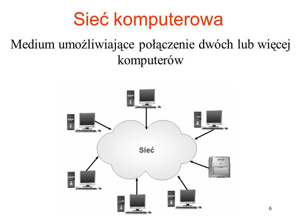 Sieć - połączenie wielu komputerów w celu: przesyłu danych różnego typu wzajemna komunikacja żądań przetwarzania danych na innym komputerze wykonania określonej usługi wykorzystania urządzeń w sieci zdalnego sterowania, administrowania odległym komputerem