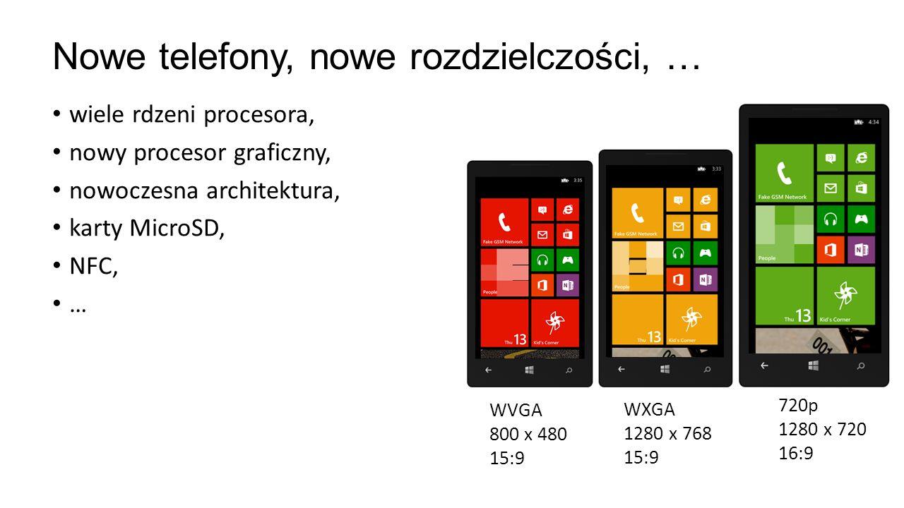 wiele rdzeni procesora, nowy procesor graficzny, nowoczesna architektura, karty MicroSD, NFC, … Nowe telefony, nowe rozdzielczości, … WVGA 800 x 480 1