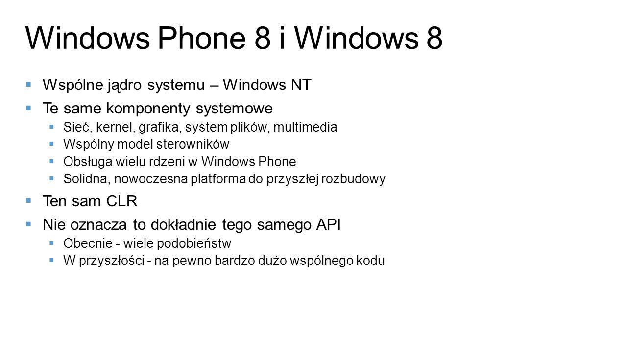 Wspólne jądro systemu – Windows NT Te same komponenty systemowe Sieć, kernel, grafika, system plików, multimedia Wspólny model sterowników Obsługa wie