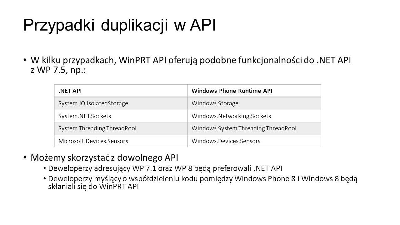 W kilku przypadkach, WinPRT API oferują podobne funkcjonalności do.NET API z WP 7.5, np.: Możemy skorzystać z dowolnego API Deweloperzy adresujący WP