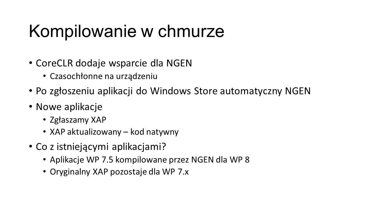 Kompilowanie w chmurze CoreCLR dodaje wsparcie dla NGEN Czasochłonne na urządzeniu Po zgłoszeniu aplikacji do Windows Store automatyczny NGEN Nowe apl