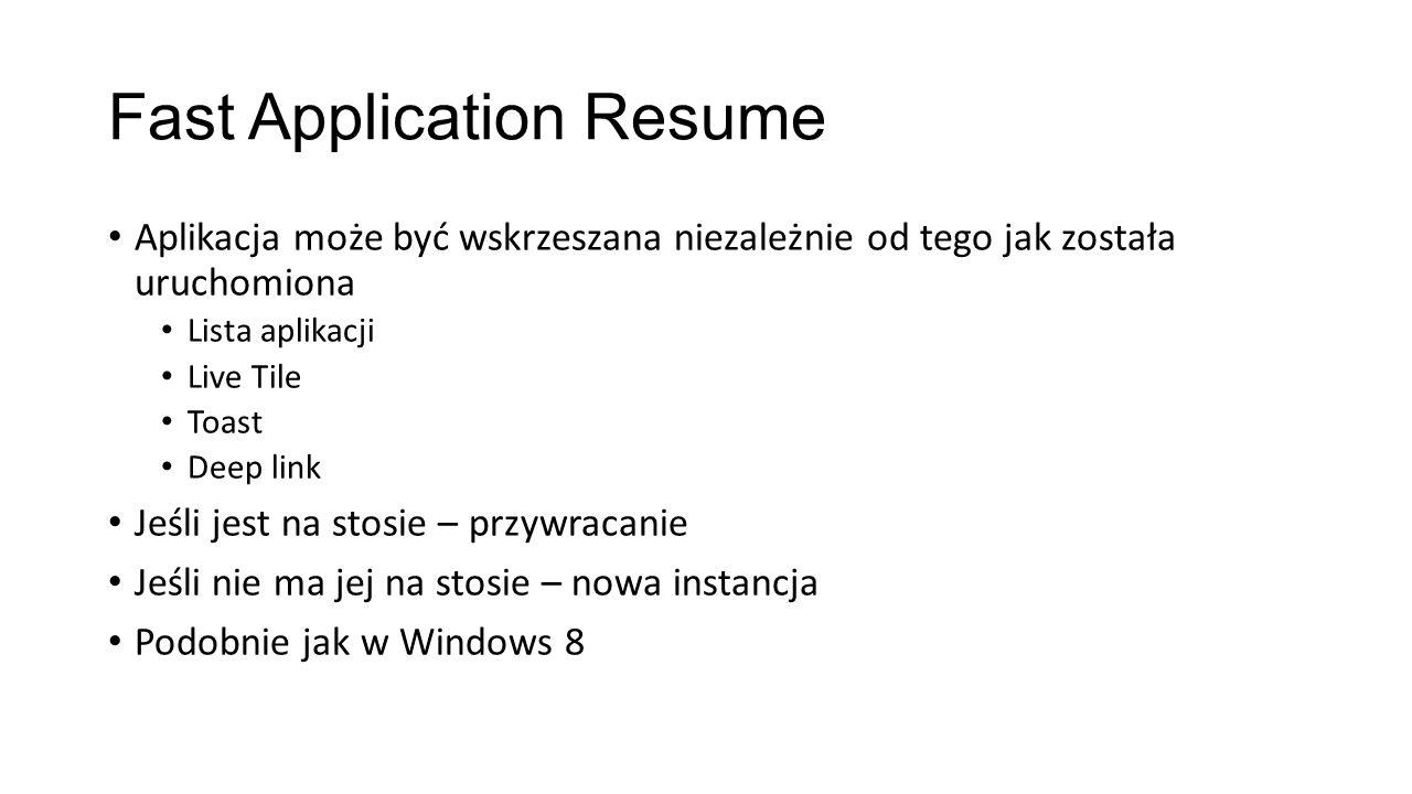 Fast Application Resume Aplikacja może być wskrzeszana niezależnie od tego jak została uruchomiona Lista aplikacji Live Tile Toast Deep link Jeśli jes