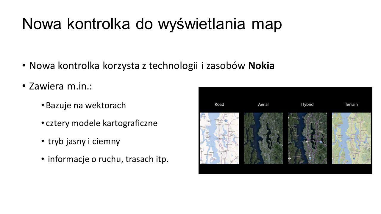Nowa kontrolka korzysta z technologii i zasobów Nokia Zawiera m.in.: Bazuje na wektorach cztery modele kartograficzne tryb jasny i ciemny informacje o