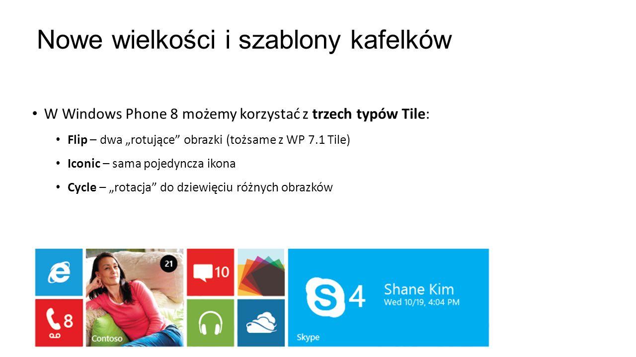 Nowe wielkości i szablony kafelków W Windows Phone 8 możemy korzystać z trzech typów Tile: Flip – dwa rotujące obrazki (tożsame z WP 7.1 Tile) Iconic