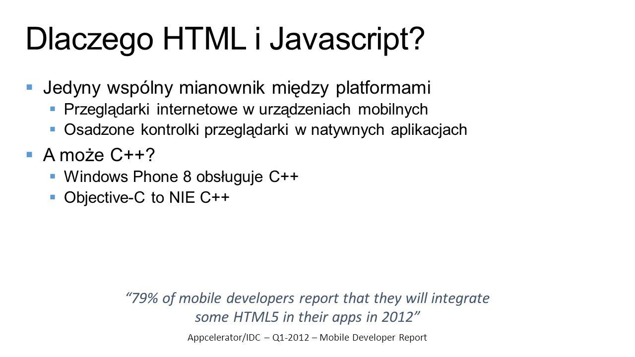 Dlaczego HTML i Javascript? Jedyny wspólny mianownik między platformami Przeglądarki internetowe w urządzeniach mobilnych Osadzone kontrolki przegląda