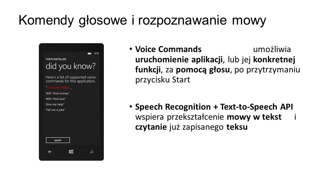 Voice Commands umożliwia uruchomienie aplikacji, lub jej konkretnej funkcji, za pomocą głosu, po przytrzymaniu przycisku Start Speech Recognition + Te