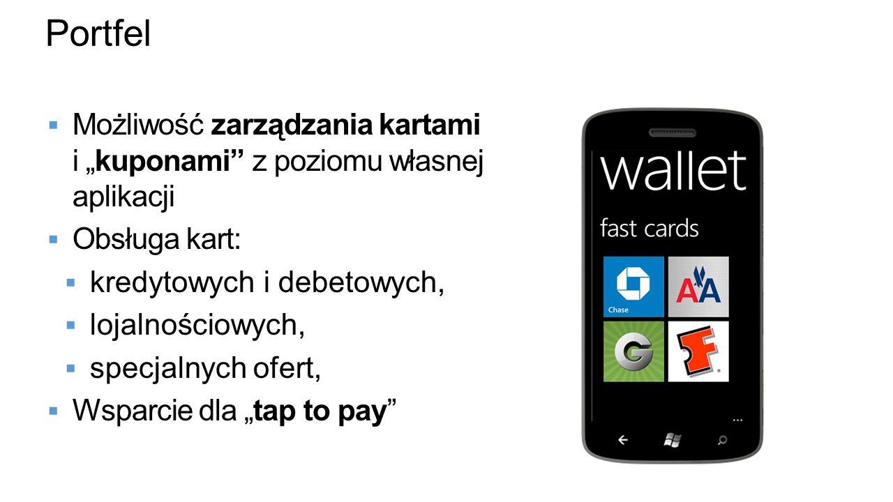 Portfel Możliwość zarządzania kartami i kuponami z poziomu własnej aplikacji Obsługa kart: kredytowych i debetowych, lojalnościowych, specjalnych ofer