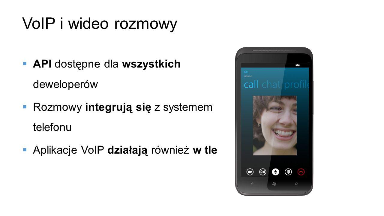 VoIP i wideo rozmowy API dostępne dla wszystkich deweloperów Rozmowy integrują się z systemem telefonu Aplikacje VoIP działają również w tle