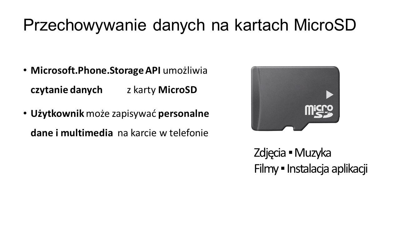 Microsoft.Phone.Storage API umożliwia czytanie danych z karty MicroSD Użytkownik może zapisywać personalne dane i multimedia na karcie w telefonie Prz
