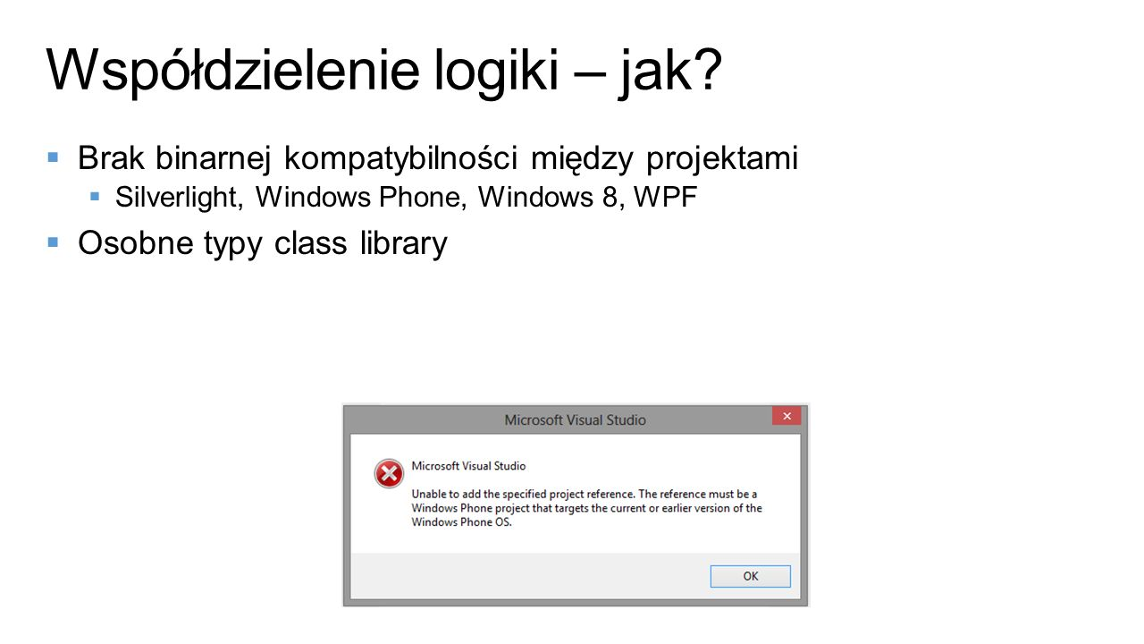Współdzielenie logiki – jak? Brak binarnej kompatybilności między projektami Silverlight, Windows Phone, Windows 8, WPF Osobne typy class library