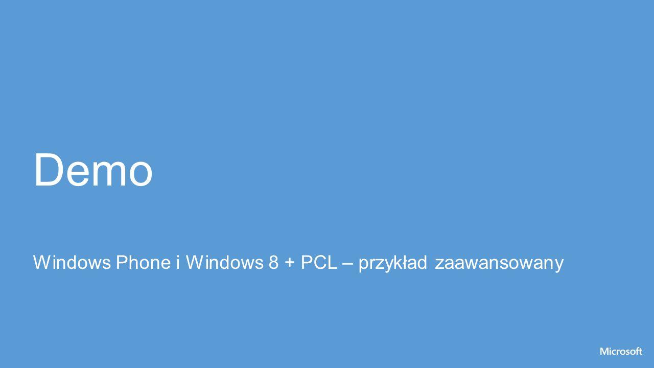 Demo Windows Phone i Windows 8 + PCL – przykład zaawansowany