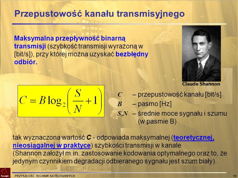 PRZYSZŁOŚĆ TECHNIK SATELITARNYCH 18 Przepustowość kanału transmisyjnego Maksymalna przepływność binarną transmisji (szybkość transmisji wyrażoną w [bi