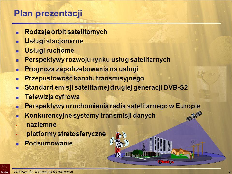 PRZYSZŁOŚĆ TECHNIK SATELITARNYCH 33 Zasoby widmowe rozważane dla emisji w Europie ZAKRES CZĘSTOTLIWOŚCIROZWAŻANE PRZEZNACZENIE 1479 – 1492 MHz ITU przeznaczył dla BSS (radiodyfuzja satelitarna) CEPT ECC przeznaczył dla S-DAB 1467 – 1479 MHz ITU przeznaczył dla BSS CEPT przeznaczył dla T-DAB (Maastricht) Narodowe plany przydziału T-DMB i DVB-H 2170 – 2200 MHz ITU przydzielił na MSS (satelitarne usługi ruchome) CEPT przeznaczył dla MSS / S-UMTS Nowy przydział CEPT ECC spodziewany w 2007 r.