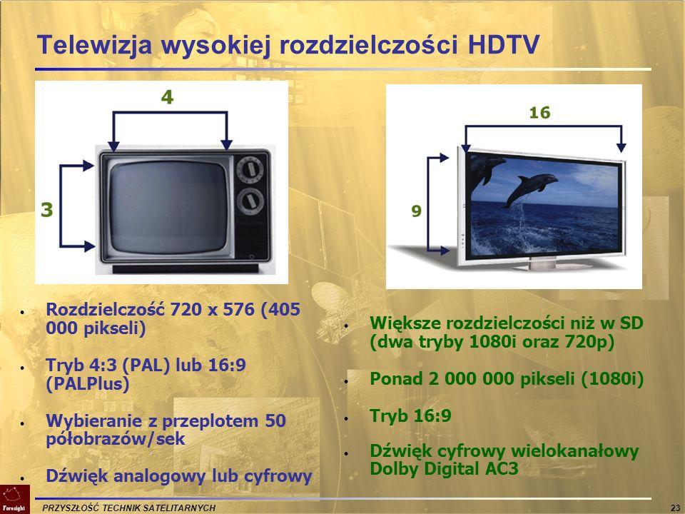 PRZYSZŁOŚĆ TECHNIK SATELITARNYCH 23 Telewizja wysokiej rozdzielczości HDTV Rozdzielczość 720 x 576 (405 000 pikseli) Tryb 4:3 (PAL) lub 16:9 (PALPlus)