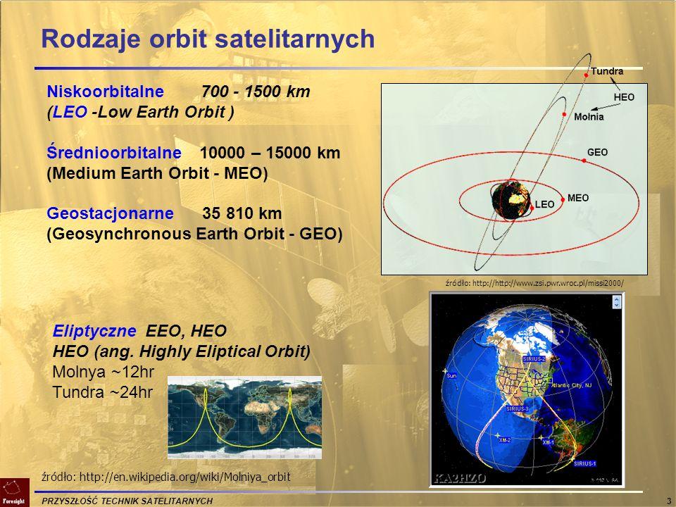PRZYSZŁOŚĆ TECHNIK SATELITARNYCH 4 Rodzaje orbit satelitarnych Typ orbitLEOMEOGEOHEO Wysokość (km)700 – 1500 10000 – 15000 36000500- 50000 Konieczna liczba satelitów >40 (świat) 10 – 15 (świat) 3 – 4 (świat) 2-3 (region) Możliwość uruchamiania etapami NieTak Nie Opóźnienie [s]0,050,10,250,2-0,4 Kąt elewacjiNiski średni – wysoki niski – średni wysoki Przełączanie połączeńCzęstoRzadkoNigdyRzadko Penetracja budynkówSłaba Brak Penetracja centrów miastŚrednia ŚredniDuża Możliwość używania terminali ruchomych Tak