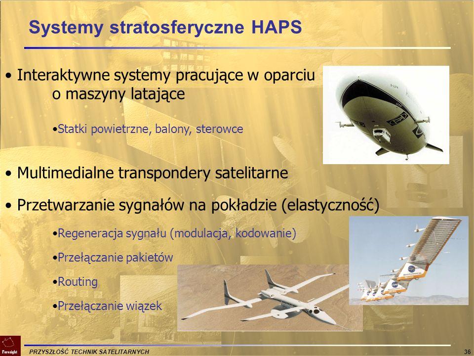 PRZYSZŁOŚĆ TECHNIK SATELITARNYCH 36 Interaktywne systemy pracujące w oparciu o maszyny latające Statki powietrzne, balony, sterowce Multimedialne tran