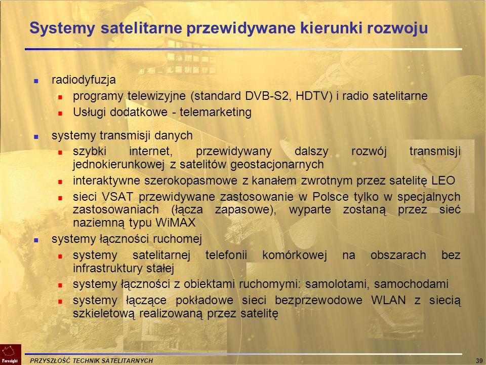 PRZYSZŁOŚĆ TECHNIK SATELITARNYCH 39 Systemy satelitarne przewidywane kierunki rozwoju radiodyfuzja programy telewizyjne (standard DVB-S2, HDTV) i radi