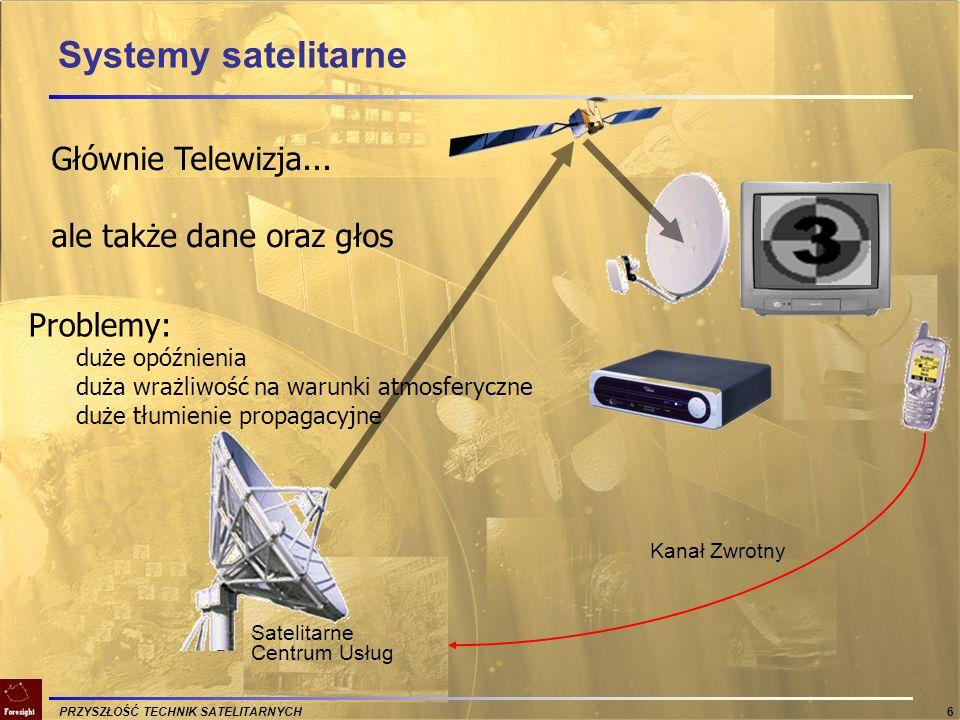 PRZYSZŁOŚĆ TECHNIK SATELITARNYCH 7 Usługi stacjonarne FSS (Fixed Satellite Systems) radiodyfuzja DBS (Direct Broadcast Satellite) transmisja programów telewizyjnych (standard DVB-S/DVB-S2) oraz radiowych połączenia telefoniczne sieci transmisji danych VSAT (Very Small Aperture Terminal) transmisje okazjonalne sieć rezerwowa dla systemów naziemnych sieci specjalne: samoloty, pociągi, statki itp.