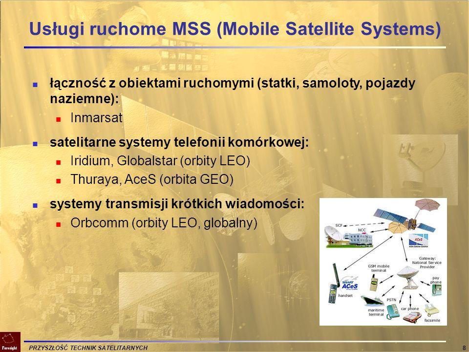 PRZYSZŁOŚĆ TECHNIK SATELITARNYCH 39 Systemy satelitarne przewidywane kierunki rozwoju radiodyfuzja programy telewizyjne (standard DVB-S2, HDTV) i radio satelitarne Usługi dodatkowe - telemarketing systemy transmisji danych szybki internet, przewidywany dalszy rozwój transmisji jednokierunkowej z satelitów geostacjonarnych interaktywne szerokopasmowe z kanałem zwrotnym przez satelitę LEO sieci VSAT przewidywane zastosowanie w Polsce tylko w specjalnych zastosowaniach (łącza zapasowe), wyparte zostaną przez sieć naziemną typu WiMAX systemy łączności ruchomej systemy satelitarnej telefonii komórkowej na obszarach bez infrastruktury stałej systemy łączności z obiektami ruchomymi: samolotami, samochodami systemy łączące pokładowe sieci bezprzewodowe WLAN z siecią szkieletową realizowaną przez satelitę
