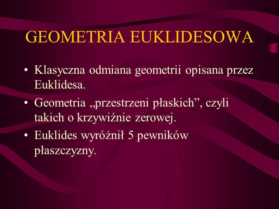 GEOMETRIA EUKLIDESOWA Klasyczna odmiana geometrii opisana przez Euklidesa. Geometria przestrzeni płaskich, czyli takich o krzywiźnie zerowej. Euklides