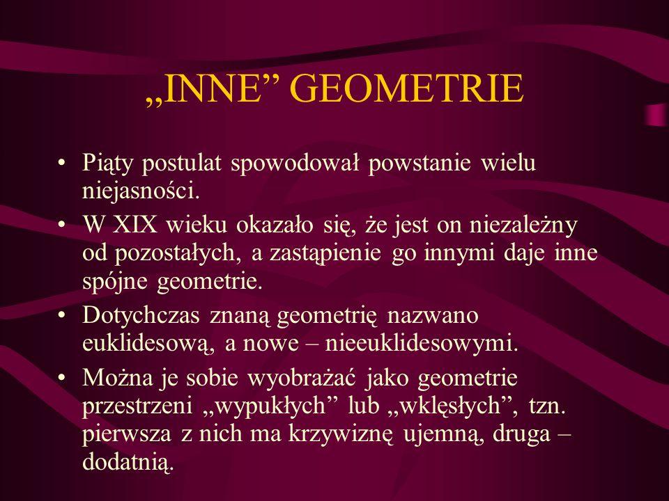 GEOMETRIA NIEEUKLIDESOWA Geometria nieeuklidesowa – geometria, która nie spełnia co najmniej jednego z pewników geometrii euklidesowej.