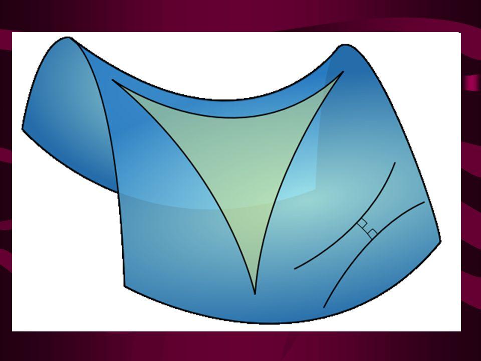 GEOMETRIA SFERYCZNA Rezygnacja z postulatu równoległości geometrii euklidesowej daje możliwość przyjęcia, że przez punkt nieleżący na danej prostej nie przechodzi żadna prosta rozłączna z daną (drugą możliwością jest przyjęcie, iż takich prostych może być więcej niż jedna).