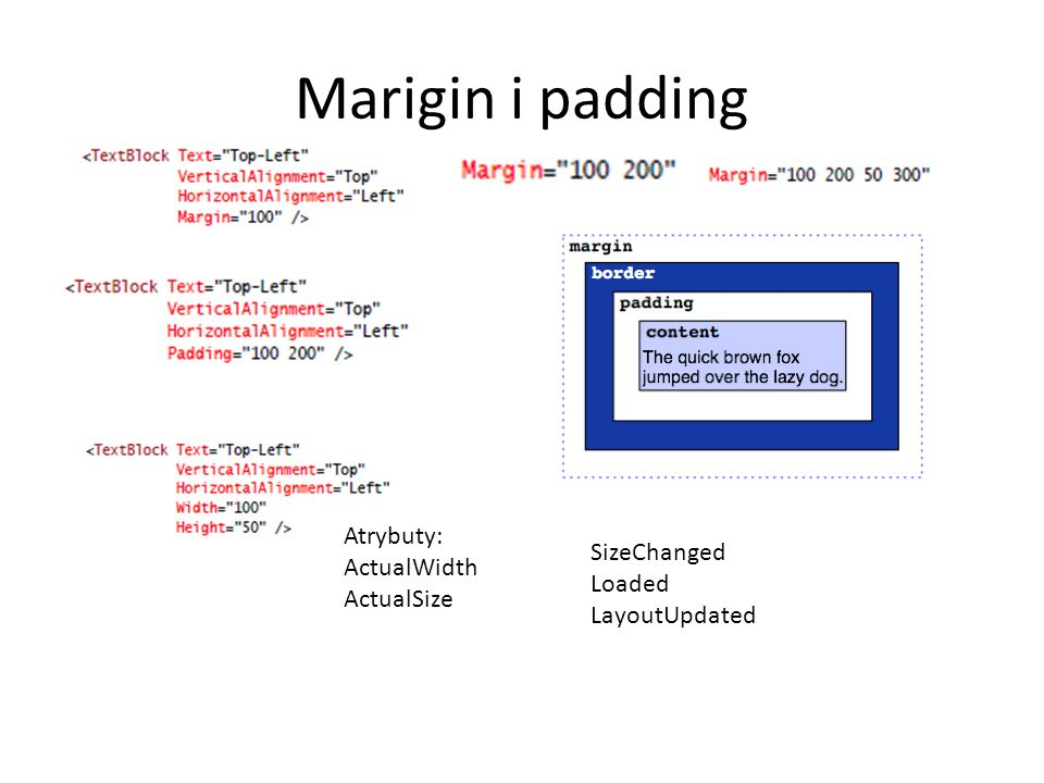 Marigin i padding Atrybuty: ActualWidth ActualSize SizeChanged Loaded LayoutUpdated