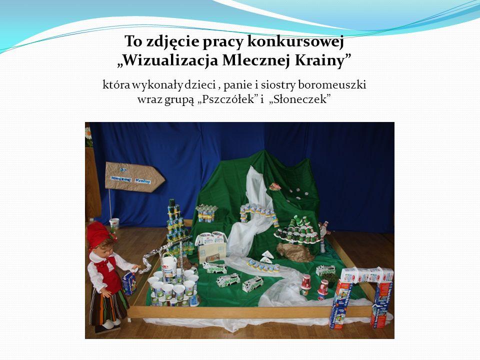 To zdjęcie pracy konkursowej Wizualizacja Mlecznej Krainy która wykonały dzieci, panie i siostry boromeuszki wraz grupą Pszczółek i Słoneczek