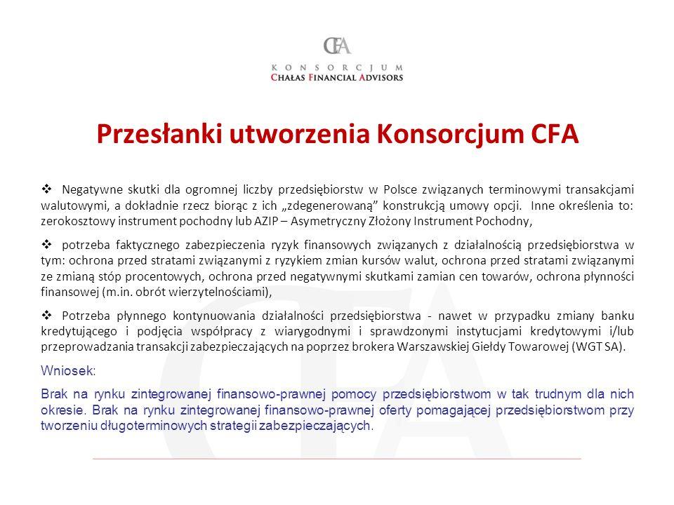 Przesłanki utworzenia Konsorcjum CFA Negatywne skutki dla ogromnej liczby przedsiębiorstw w Polsce związanych terminowymi transakcjami walutowymi, a d
