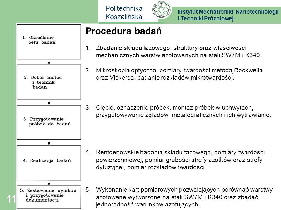 Instytut Mechatroniki, Nanotechnologii i Techniki Próżniowej Politechnika Koszalińska 11 Procedura badań 1.Zbadanie składu fazowego, struktury oraz wł