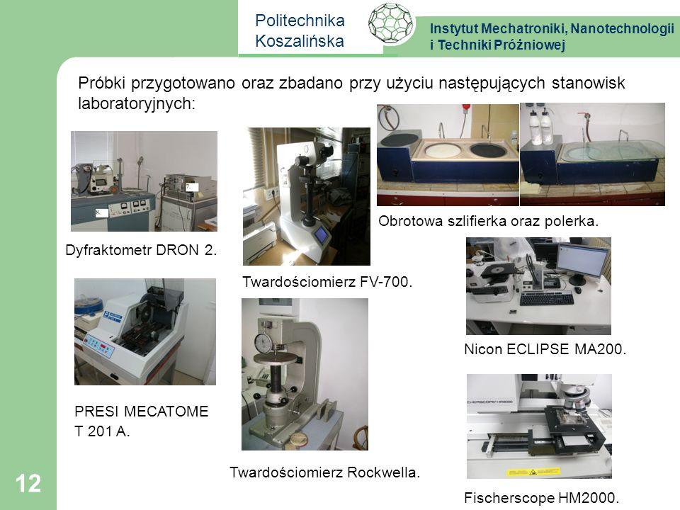 Instytut Mechatroniki, Nanotechnologii i Techniki Próżniowej Politechnika Koszalińska Nicon ECLIPSE MA200. Twardościomierz FV-700. 12 Próbki przygotow