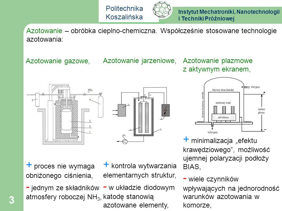 Instytut Mechatroniki, Nanotechnologii i Techniki Próżniowej Politechnika Koszalińska 4 Na podstawie układu Fe-N wyróżniamy następujące fazy: 1.Faza α, roztwór, A2; 2.Faza γ, roztwór, A1; 3.Faza γ,roztwór na bazie Fe 4 N, A1; 4.Faza ε, roztwór na bazie Fe 2-3 N, A3; 5.Faza ξ, azotek Fe2N, układ rombowy.