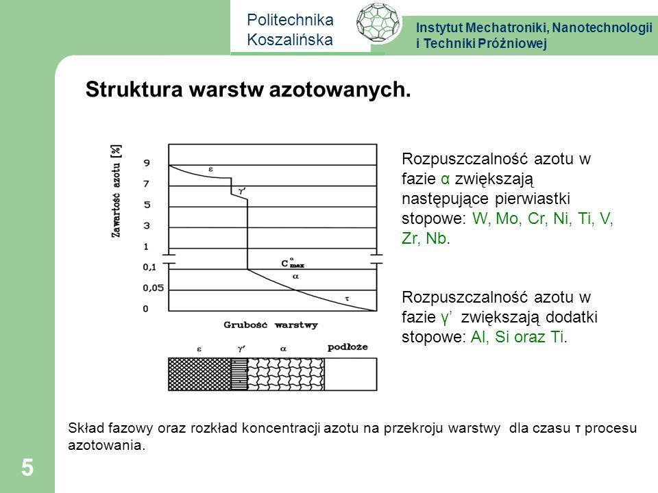 Instytut Mechatroniki, Nanotechnologii i Techniki Próżniowej Politechnika Koszalińska 16 Grubość wytworzonych na stali SW7M i K340 warstw azotowanych zmierzona na szlifie metalograficznym.