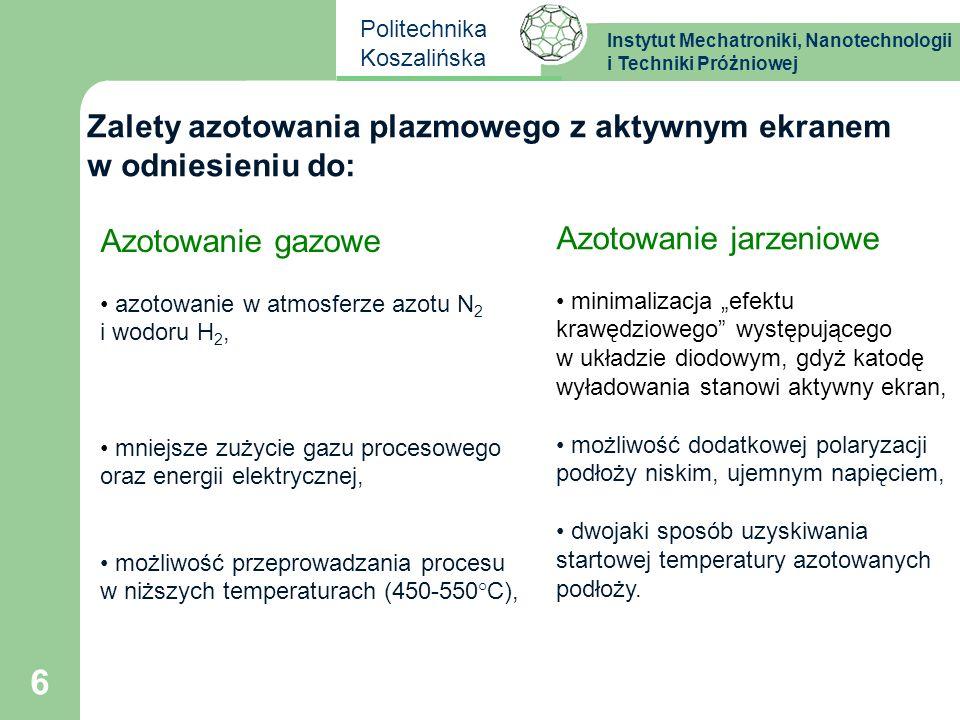Instytut Mechatroniki, Nanotechnologii i Techniki Próżniowej Politechnika Koszalińska 6 Zalety azotowania plazmowego z aktywnym ekranem w odniesieniu