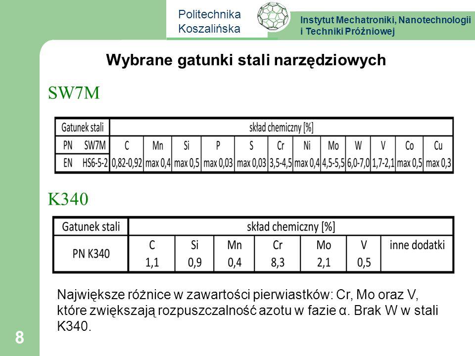 Instytut Mechatroniki, Nanotechnologii i Techniki Próżniowej Politechnika Koszalińska Wybrane gatunki stali narzędziowych SW7M K340 8 Największe różni