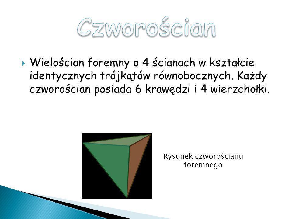Wielościan foremny o 4 ścianach w kształcie identycznych trójkątów równobocznych. Każdy czworościan posiada 6 krawędzi i 4 wierzchołki. Rysunek czworo