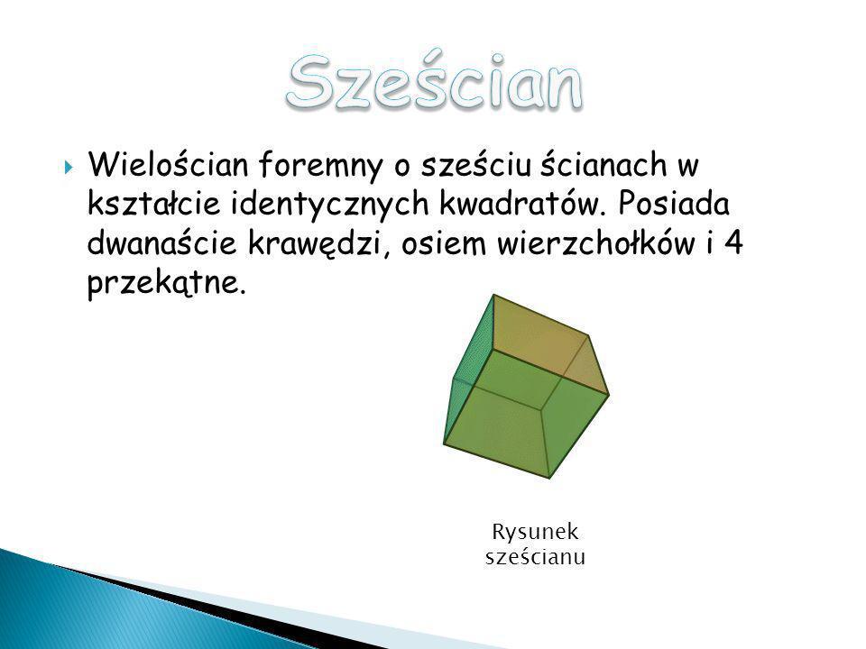 Wielościan foremny o sześciu ścianach w kształcie identycznych kwadratów. Posiada dwanaście krawędzi, osiem wierzchołków i 4 przekątne. Rysunek sześci