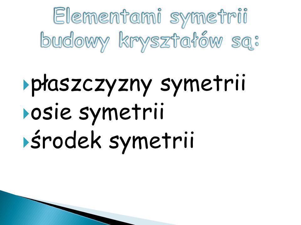płaszczyzny symetrii osie symetrii środek symetrii