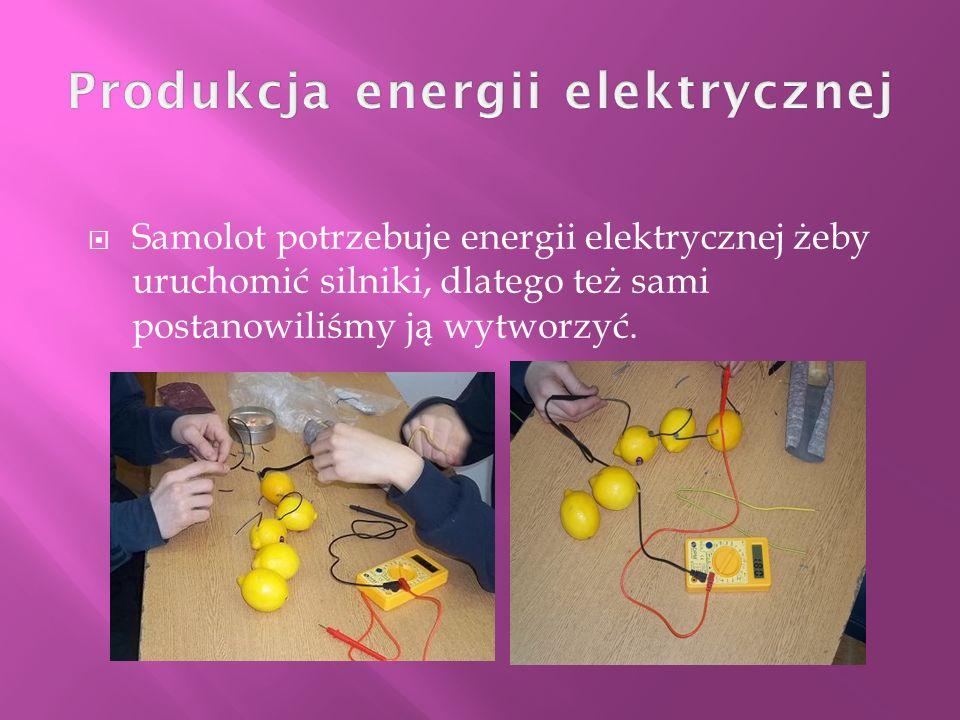Samolot potrzebuje energii elektrycznej żeby uruchomić silniki, dlatego też sami postanowiliśmy ją wytworzyć.
