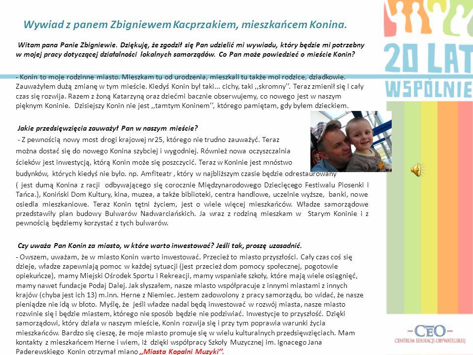 Zespół Szkół Górniczo- Energetycznych w Koninie Samorząd Terytorialny w Koninie Nasz samorzad sie nie,,obija ! KONIN