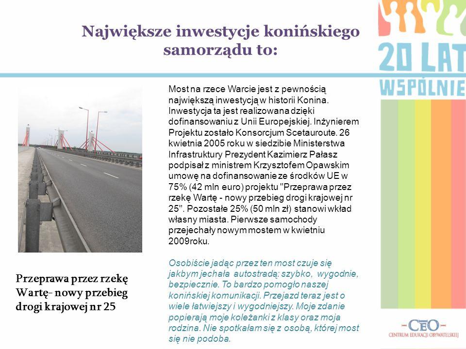 Największe inwestycje konińskiego samorządu to: Most na rzece Warcie jest z pewnością największą inwestycją w historii Konina.