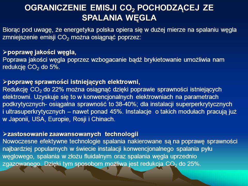 OGRANICZENIE EMISJI CO 2 POCHODZĄCEJ ZE SPALANIA WĘGLA Biorąc pod uwagę, że energetyka polska opiera się w dużej mierze na spalaniu węgla zmniejszenie