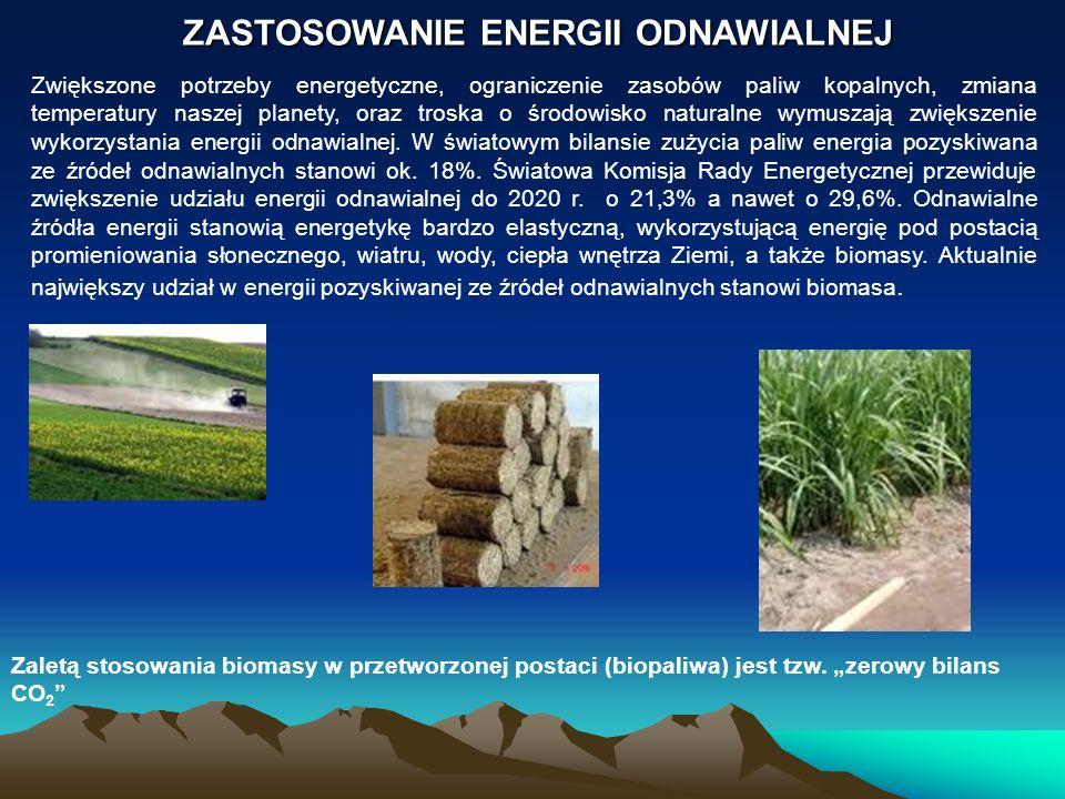 ZASTOSOWANIE ENERGII ODNAWIALNEJ Zwiększone potrzeby energetyczne, ograniczenie zasobów paliw kopalnych, zmiana temperatury naszej planety, oraz trosk