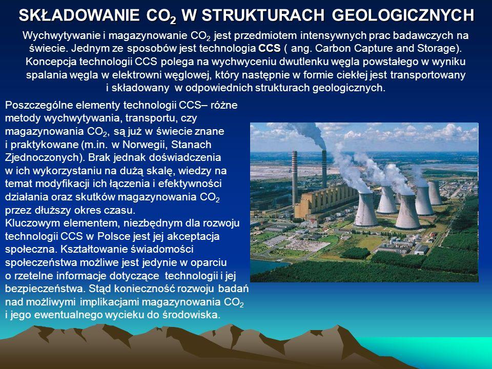 SKŁADOWANIE CO 2 W STRUKTURACH GEOLOGICZNYCH CCS Wychwytywanie i magazynowanie CO 2 jest przedmiotem intensywnych prac badawczych na świecie. Jednym z