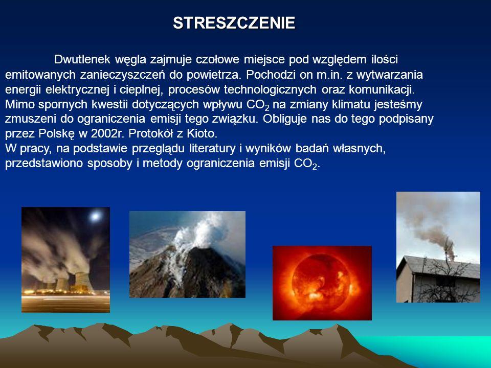 STRESZCZENIE Dwutlenek węgla zajmuje czołowe miejsce pod względem ilości emitowanych zanieczyszczeń do powietrza. Pochodzi on m.in. z wytwarzania ener