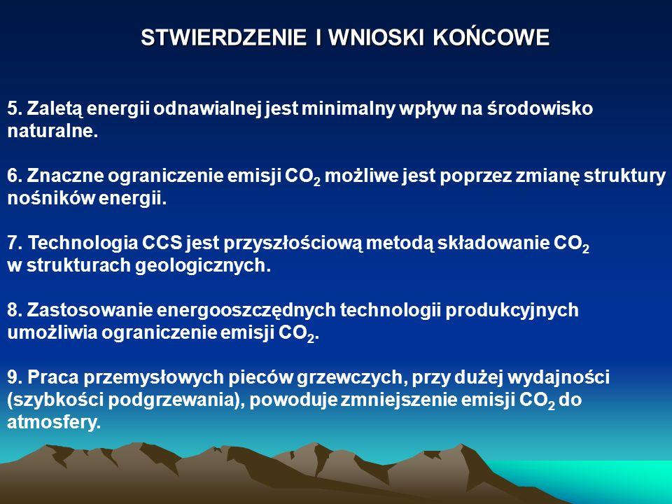 STWIERDZENIE I WNIOSKI KOŃCOWE 5. Zaletą energii odnawialnej jest minimalny wpływ na środowisko naturalne. 6. Znaczne ograniczenie emisji CO 2 możliwe