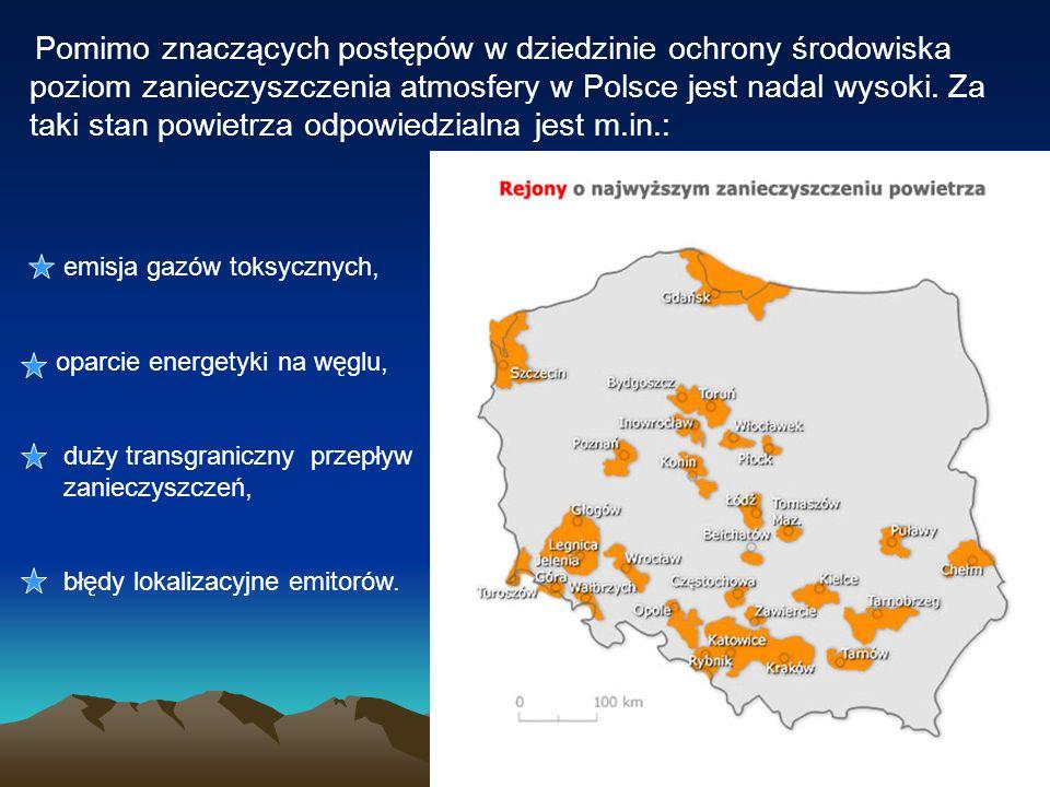 Pomimo znaczących postępów w dziedzinie ochrony środowiska poziom zanieczyszczenia atmosfery w Polsce jest nadal wysoki. Za taki stan powietrza odpowi