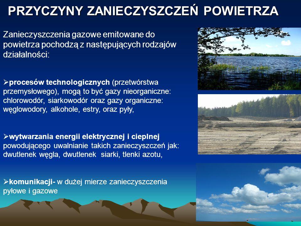 PRZYCZYNY ZANIECZYSZCZEŃ POWIETRZA Zanieczyszczenia gazowe emitowane do powietrza pochodzą z następujących rodzajów działalności: procesów technologic
