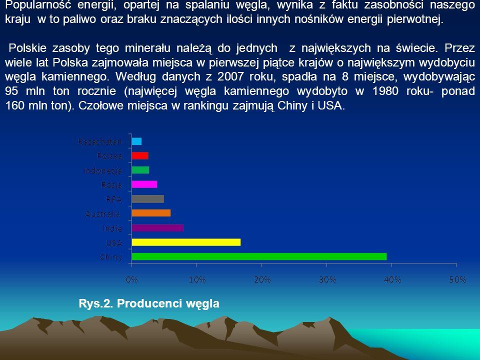 Popularność energii, opartej na spalaniu węgla, wynika z faktu zasobności naszego kraju w to paliwo oraz braku znaczących ilości innych nośników energ